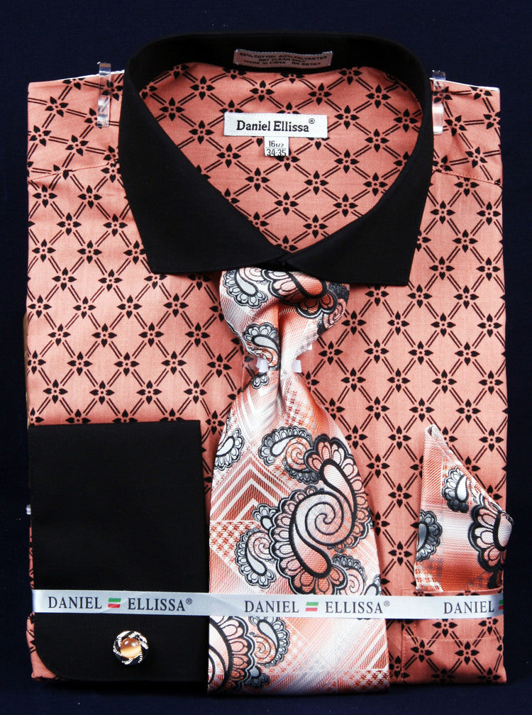 Men's Printed Two Tone Shirt with Tie and Handkerchief in Coral - SUITS FOR MENS
