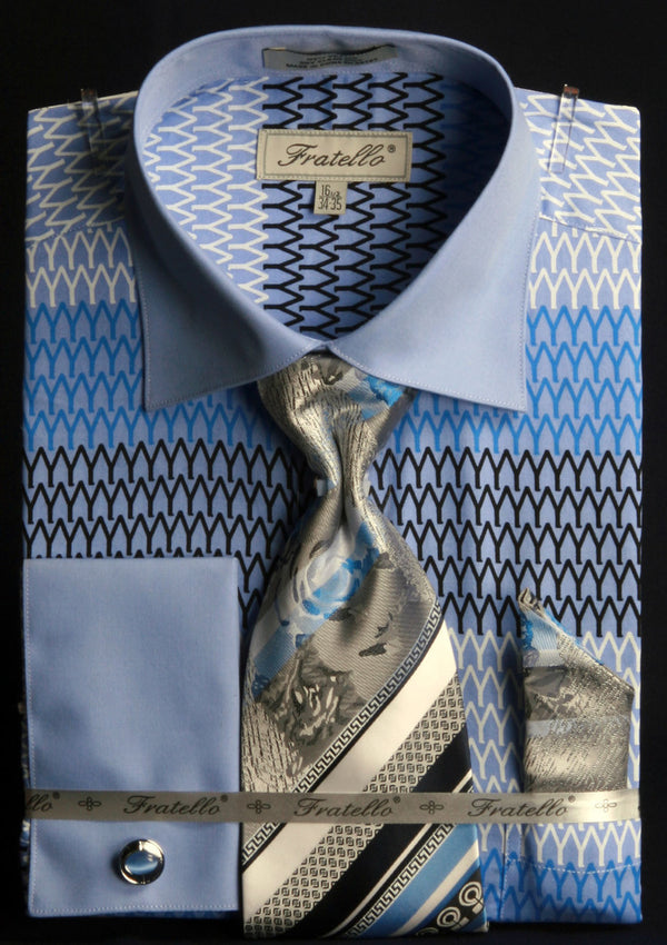 Men's Printed Tone on Tone Shirt with Tie and Handkerchief in Blue - SUITS FOR MENS