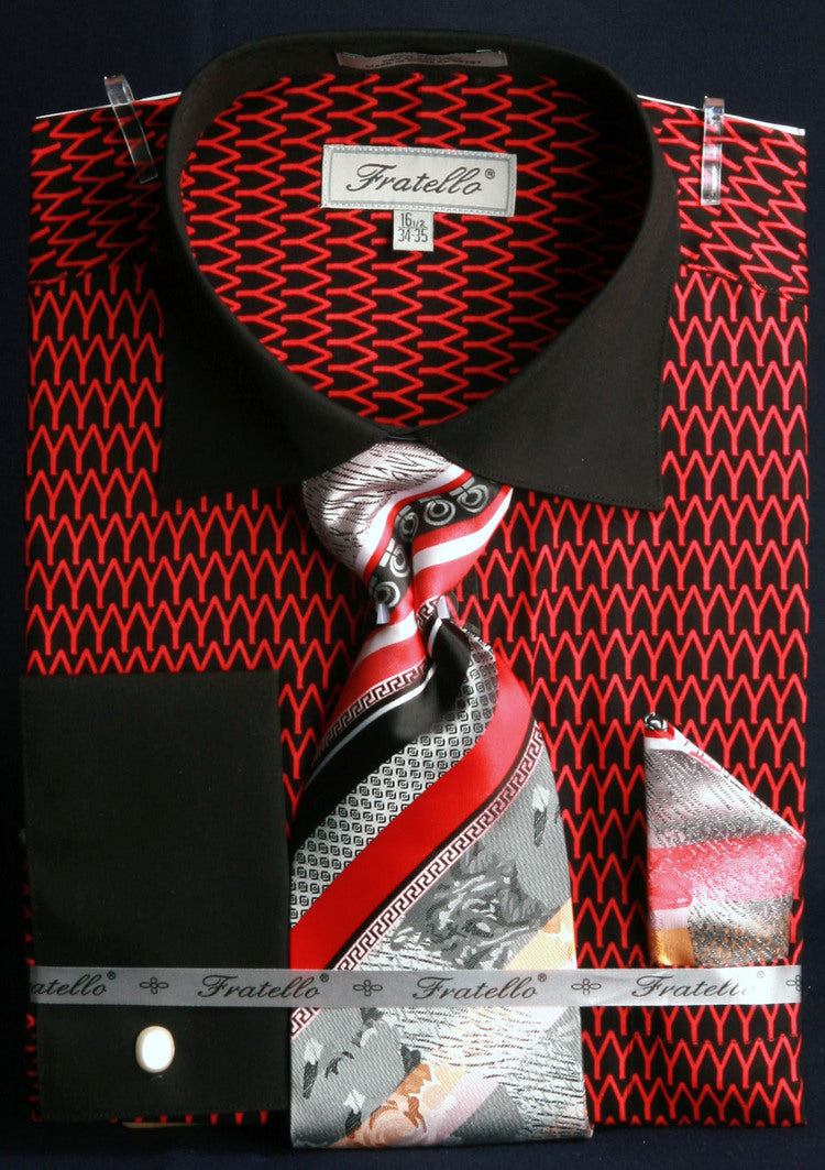 Men's Printed Tone on Tone Shirts with Tie and Handkerchief in Black/Red - SUITS OUTLETS