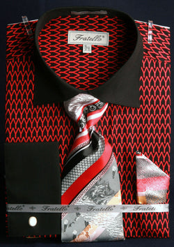 Men's Printed Tone on Tone Shirt with Tie and Handkerchief in Black/Red - SUITS FOR MENS