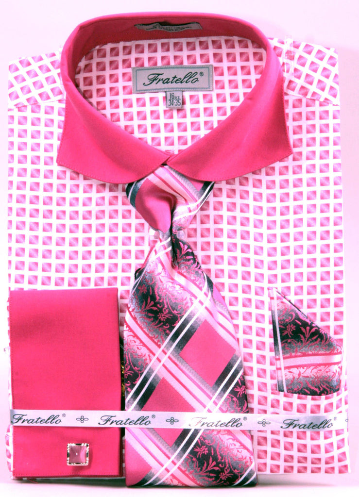 Men's Checker Pattern Cotton Shirt with Tie and Handkerchief in Fuchsia - SUITS OUTLETS