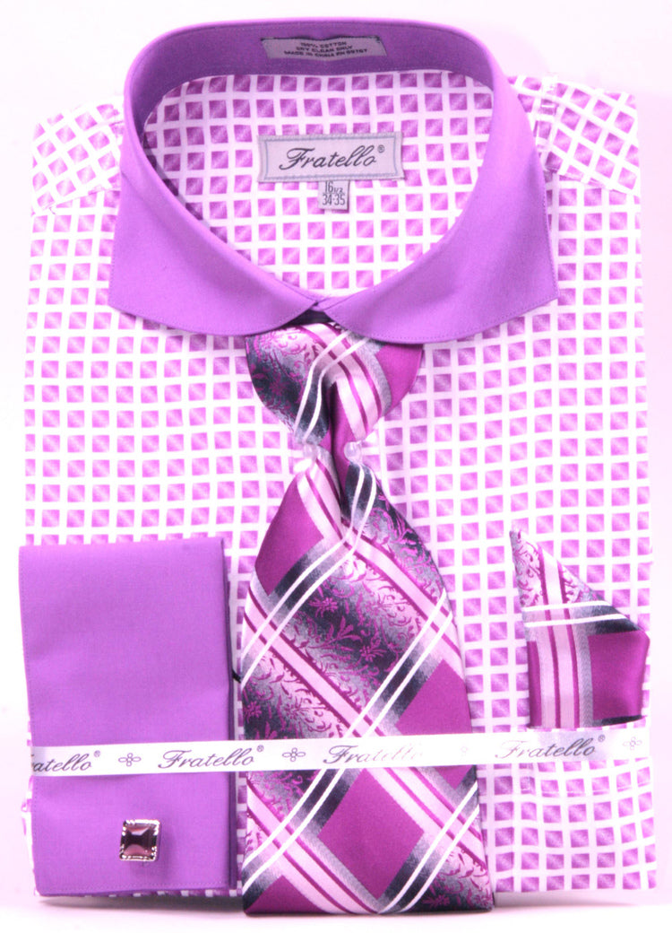 Men's Checker Pattern Cotton Shirt with Tie and Handkerchief in Lilac - SUITS OUTLETS