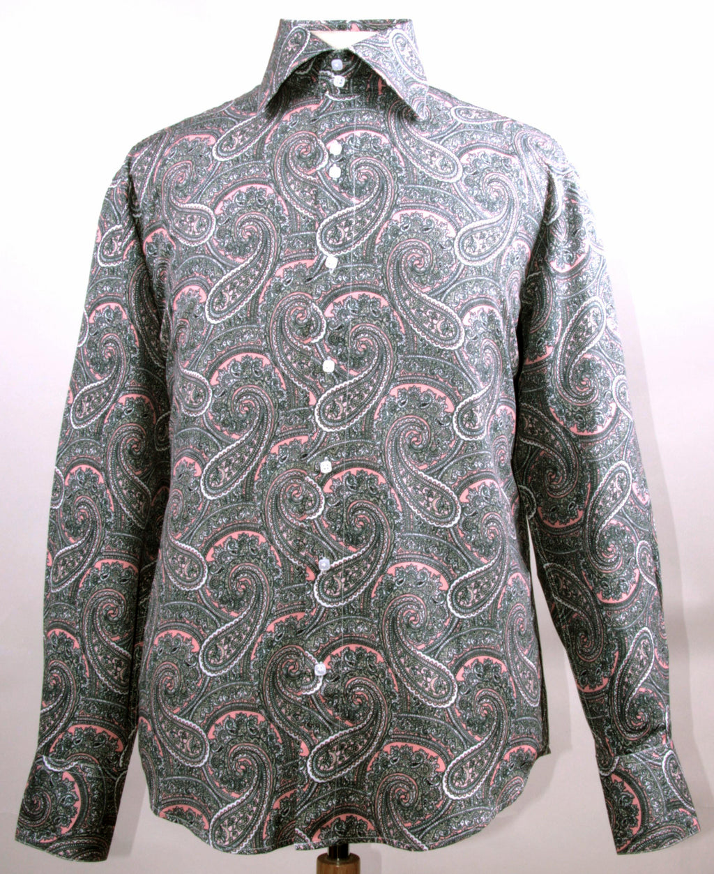 Dress Shirt Regular Fit Paisley Pattern In Rose - SUITS FOR MENS