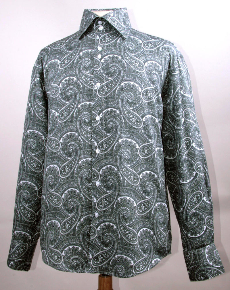 Dress Shirt Regular Fit Paisley Pattern In Black - SUITS FOR MENS