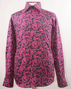 Dress Shirt Regular Fit Paisley Pattern In Black/Fuchsia - SUITS FOR MENS