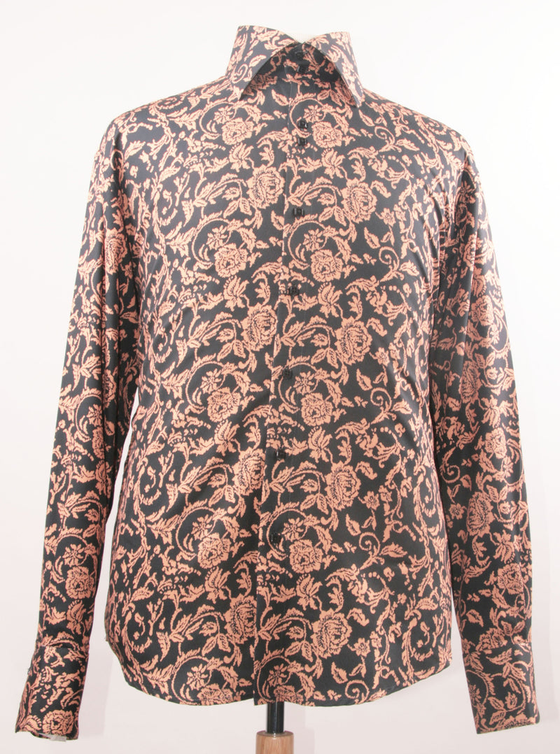 Dress Shirt Regular Fit Paisley Pattern In Tan - SUITS FOR MENS