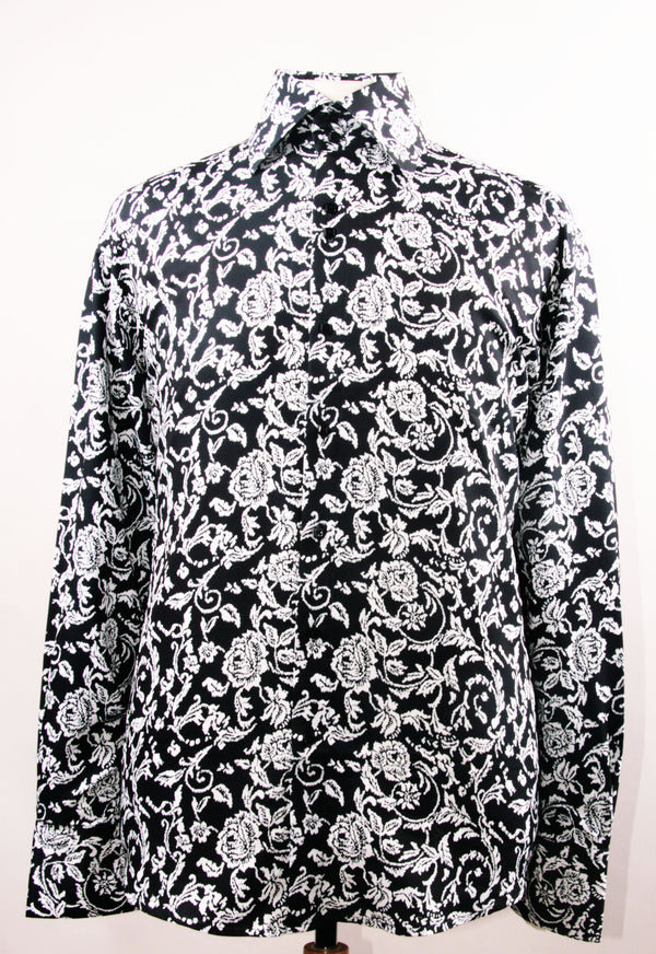 Dress Shirt Regular Fit Paisley Pattern In Black/White - SUITS FOR MENS