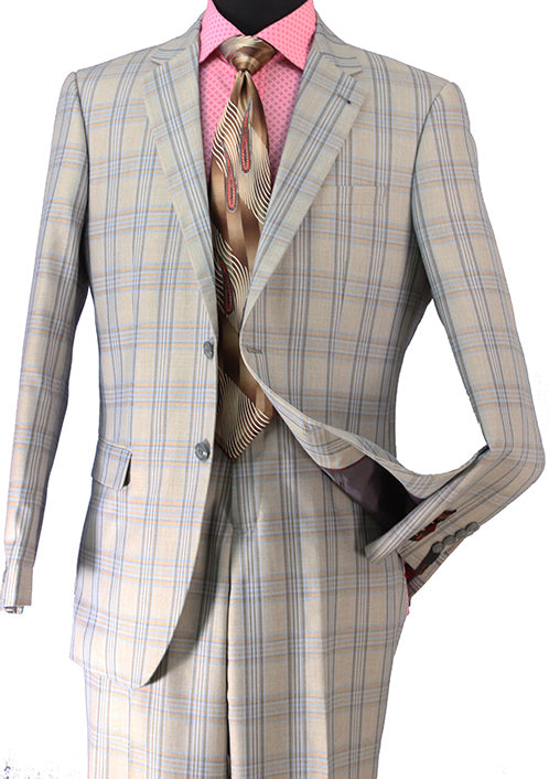 Gray Wool Blend Regular Fit Tone on Tone Check 2 Piece Suit
