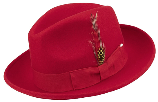 Pinch Fedora with Feather Accent in Red - SUITS FOR MENS