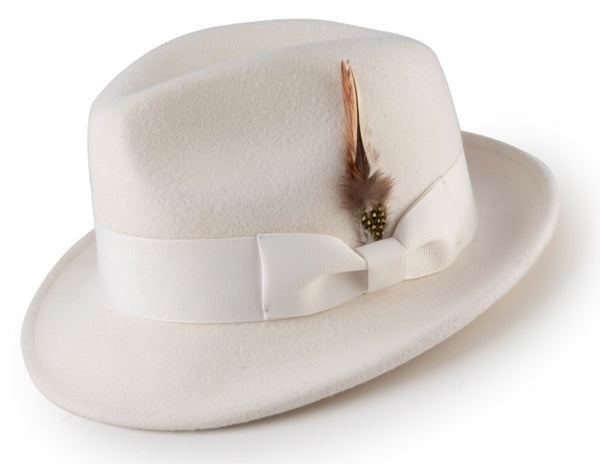 Men's White Wool Fedora Hat Snap Brim Crushable - SUITS FOR MENS