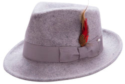 Bogart Hat with Feather Accent in Gray - SUITS FOR MENS