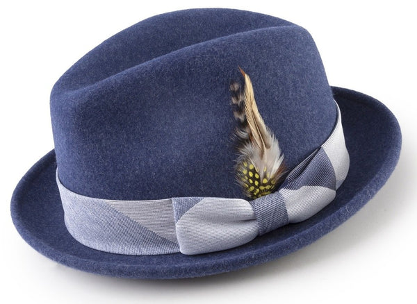 100% Wool Fedora with Feather Accent in Navy - SUITS FOR MENS