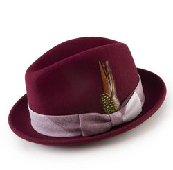 Men's Fedora Hat with Feather Accent in Wine - SUITS FOR MENS