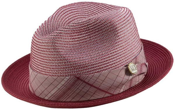 Two Tone Snap Brim Braided Pinch Fedora Hat in Burgundy