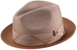 Two Tone Snap Brim Braided Pinch Fedora Hat in Caramel - SUITS FOR MENS