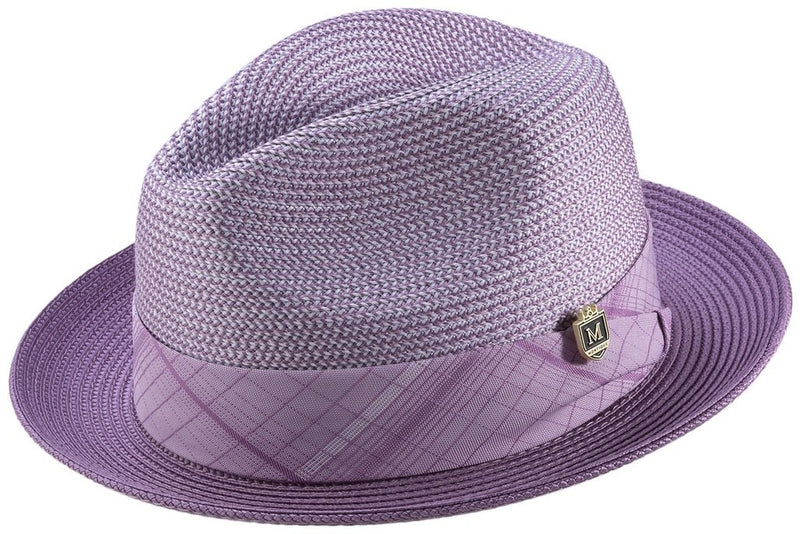 Two Tone Snap Brim Braided Pinch Fedora Hat in Lavender - SUITS FOR MENS