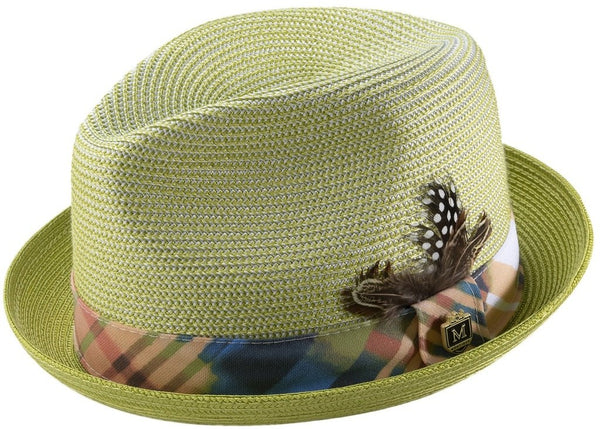 Braided Stingy Brim Pinch Fedora Hat in Green - SUITS FOR MENS