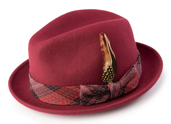 Pinch Front Brick Fedora with Feather Accent - SUITS FOR MENS