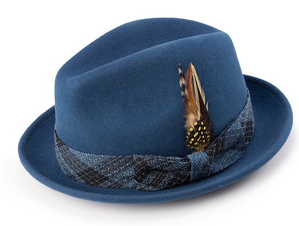 Pinch Front Sapphire Fedora with Feather Accent - SUITS FOR MENS