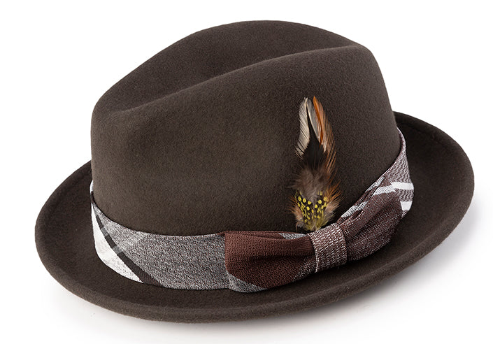 Wool Felt Pinch Front Brown Fedora with Feather Accent - SUITS FOR MENS