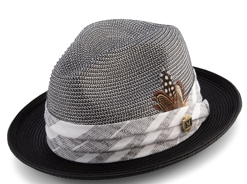 Black Madras Plaid Hat with Feather Accent