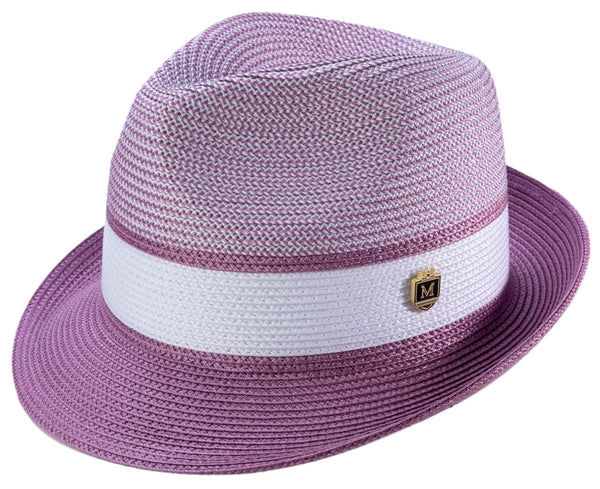 Men's Braided Two Tone Pinch Fedora Hat in Purple and White