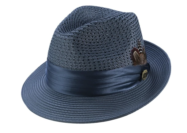 Slate Solid Color Pinch Braided Fedora With Matching Satin Ribbon - SUITS FOR MENS