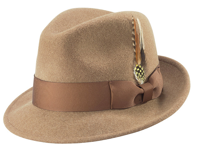 Pinch Crushable Wool felt Snap Brim Hat in Tan - SUITS FOR MENS