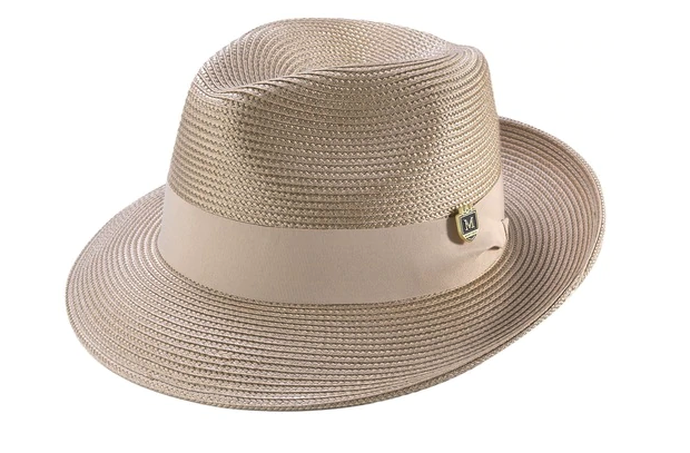 Beige Braided Wide Brim Pinch Fedora Matching Grosgrain Ribbon Hat - SUITS FOR MENS