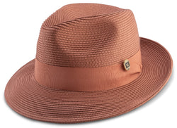 Cognac Braided Wide Brim Pinch Fedora Matching Grosgrain Ribbon Hat