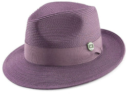 Purple Braided Wide Brim Pinch Fedora Matching Grosgrain Ribbon Hat