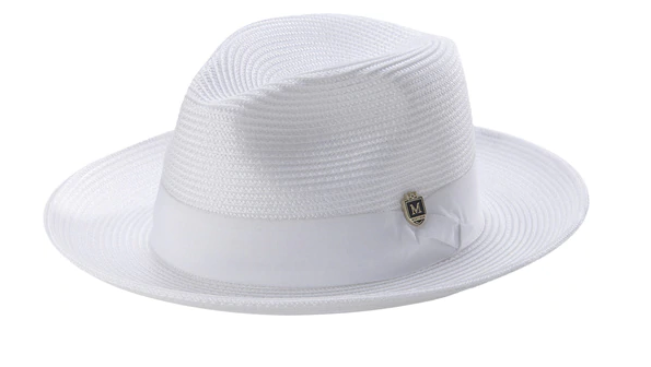 White Braided Wide Brim Pinch Fedora Matching Grosgrain Ribbon Hat - SUITS FOR MENS