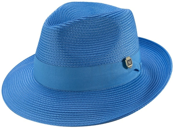 Blue Braided Wide Brim Pinch Fedora Matching Grosgrain Ribbon Hat - SUITS FOR MENS