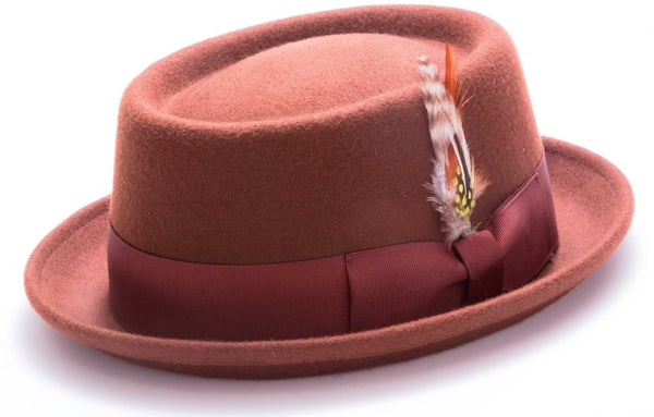Wool Felt Stingy Brim Pork Pie Fedora in Brown - SUITS FOR MENS