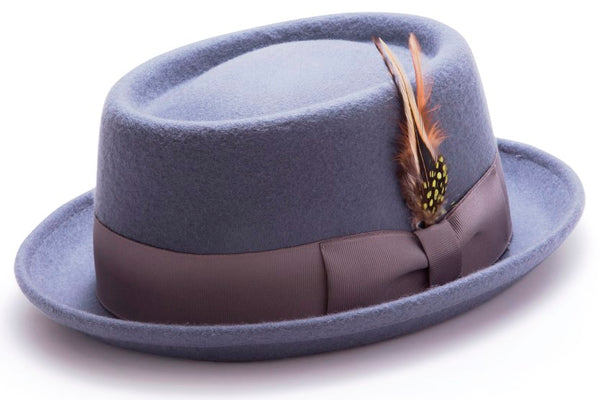 Wool Felt Stingy Brim Pork Pie Fedora in Gray - SUITS FOR MENS