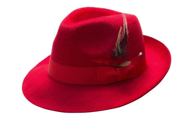 Fur Felt Fedora with Feather Accent in Red - SUITS FOR MENS