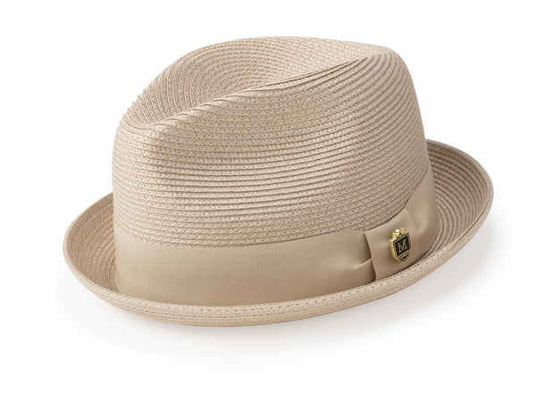 Solid Color Braided Stingy Brim Pinch Fedora in Beige