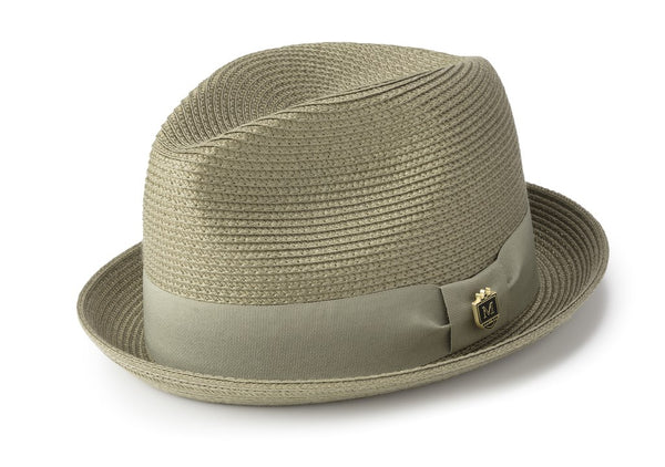 Solid Color Braided Stingy Brim Pinch Fedora in Olive
