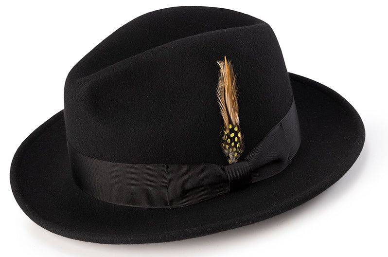 Wool Felt Fedora Pinch Front with Feather Accent in Black - SUITS FOR MENS
