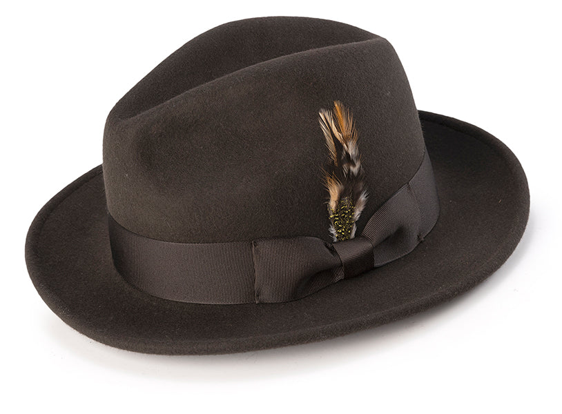 Image of 100% Wool Fedora Pinch Front with Feather Accent in Brown - L / Brown