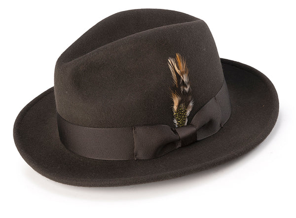 Wool Felt Fedora Pinch Front with Feather Accent in Brown - SUITS FOR MENS