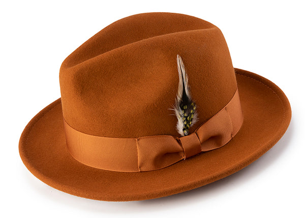 Wool Felt Fedora Pinch Front with Feather Accent in Cognac - SUITS FOR MENS