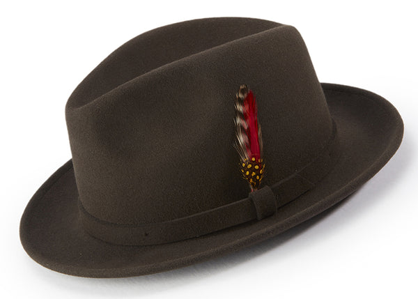 Brown Dress Hat Center Crease Stingy Snap Brim - SUITS FOR MENS