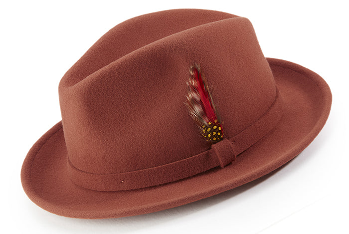 Cognac Dress Hat Center Crease Stingy Snap Brim - SUITS FOR MENS