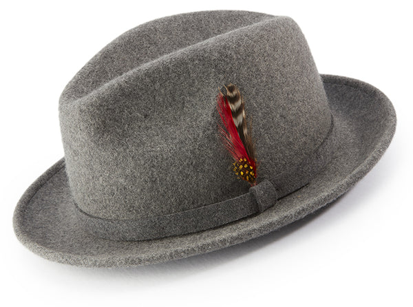 Gray Dress Hat Center Crease Stingy Snap Brim - SUITS FOR MENS