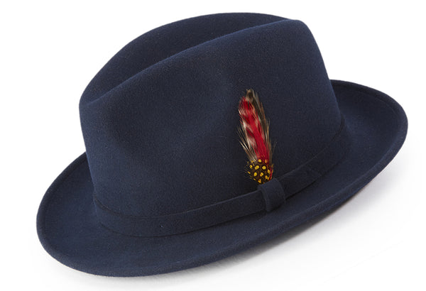 Navy Dress Hat Center Crease Stingy Snap Brim - SUITS FOR MENS