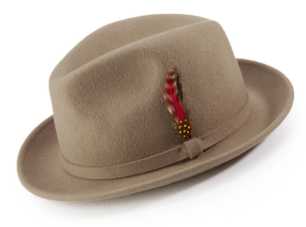 Tan Dress Hat Center Crease Stingy Snap Brim - SUITS FOR MENS