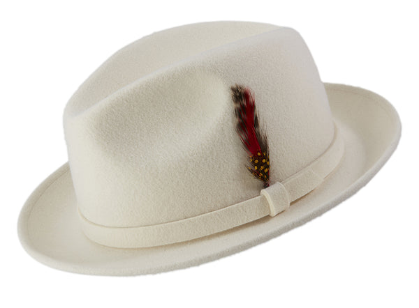 White Dress Hat Center Crease Stingy Snap Brim - SUITS FOR MENS