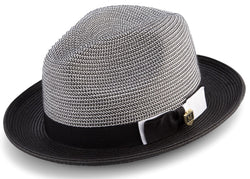 Black Men's Two Tone Braided Pinch Fedora with Grosgrain Ribbon