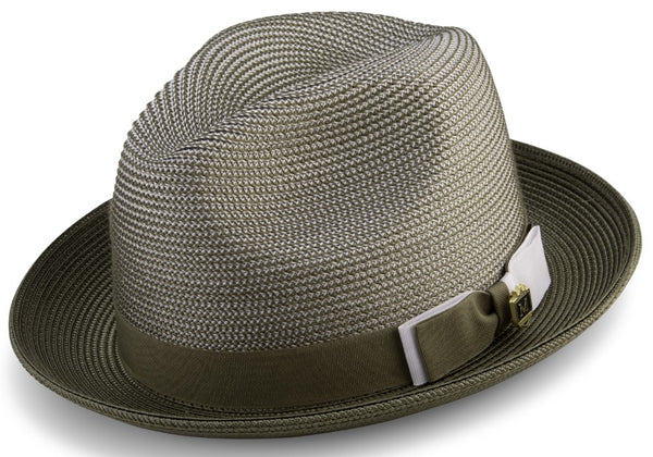 Olive Men's Two Tone Braided Pinch Fedora with Grosgrain Ribbon